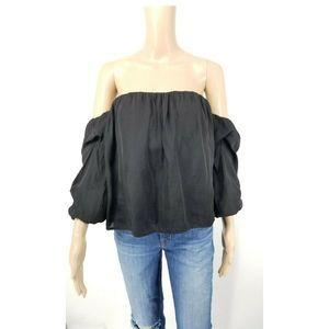 Bardot Blouse Size 6 Black Off Shoulder Top